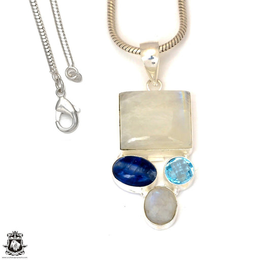 Moonstone Kyanite Pendant 4mm Snake Chain P7345