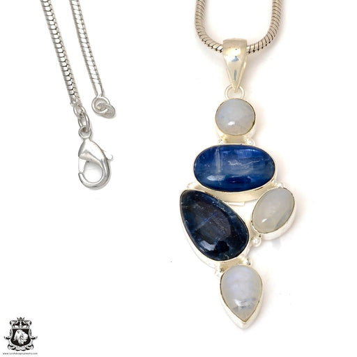 Kyanite Moonstone Pendant 4mm Snake Chain P7360