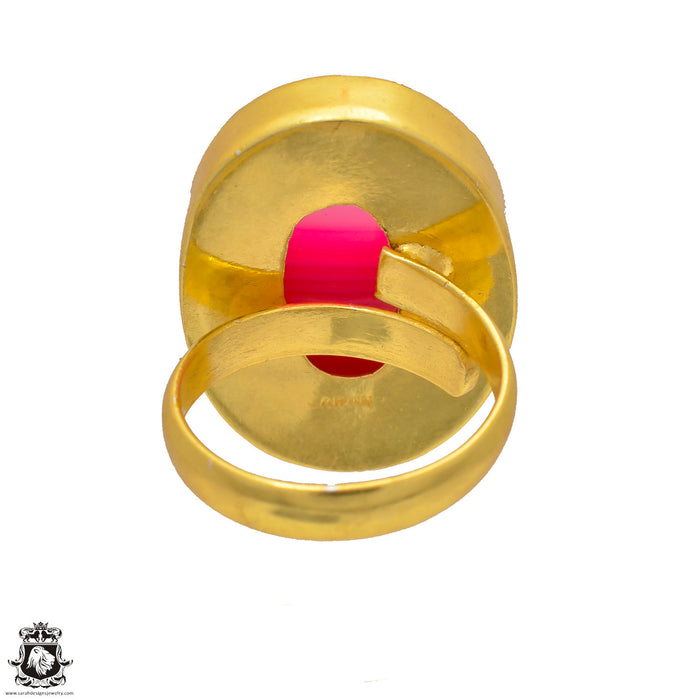 Size 6.5 - Size 8 Adjustable Pink Banded Agate 24K Gold Plated Ring GPR4