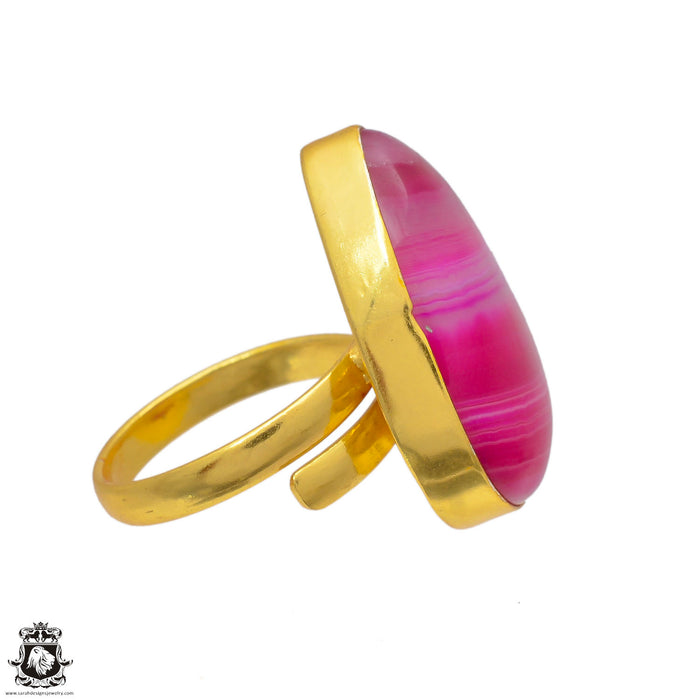 Size 10.5 - Size 12 Adjustable Pink Banded Agate 24K Gold Plated Ring GPR5
