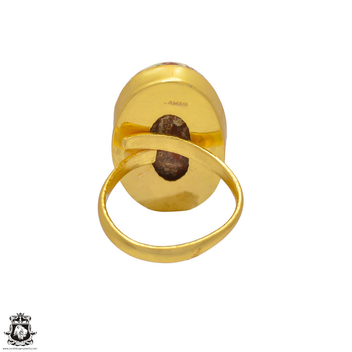 Size 10.5 - Size 12 Adjustable Wild Horse Jasper 24K Gold Plated Ring GPR17