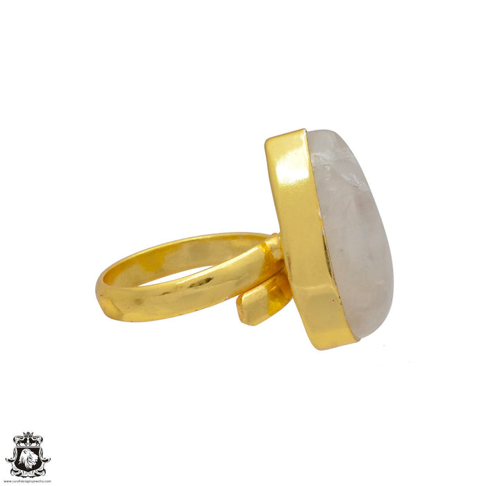 Size 8.5 - Size 10 Adjustable Moonstone 24K Gold Plated Ring GPR50