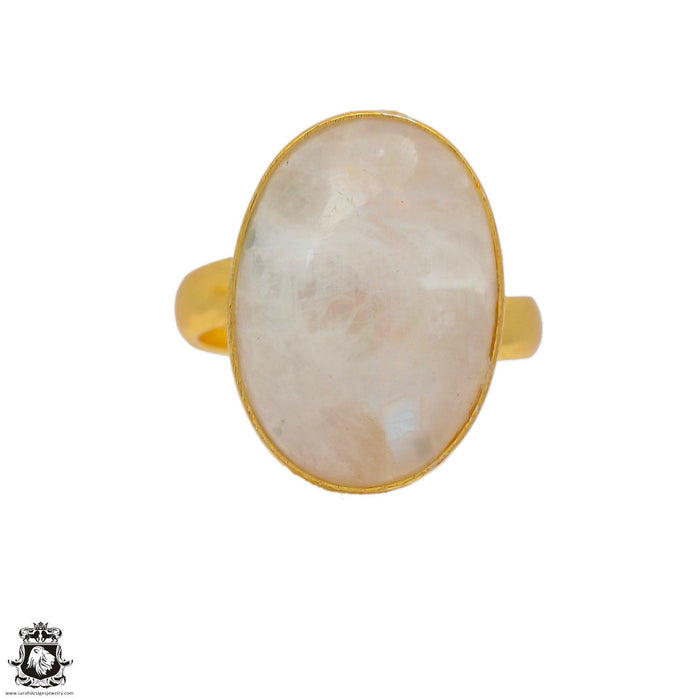 Size 8.5 - Size 10 Adjustable Moonstone 24K Gold Plated Ring GPR54