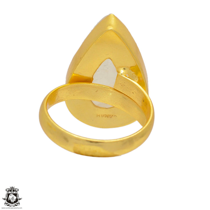 Size 7.5 - Size 9 Adjustable Moonstone 24K Gold Plated Ring GPR55