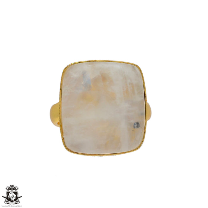 Size 6.5 - Size 8 Adjustable Moonstone 24K Gold Plated Ring GPR62