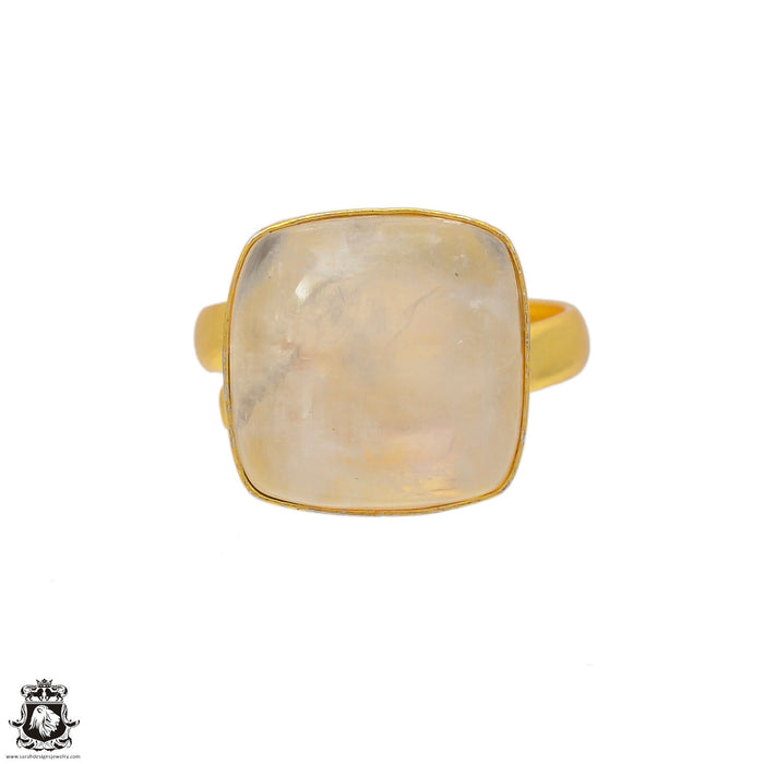 Size 9.5 - Size 11 Adjustable Moonstone 24K Gold Plated Ring GPR69