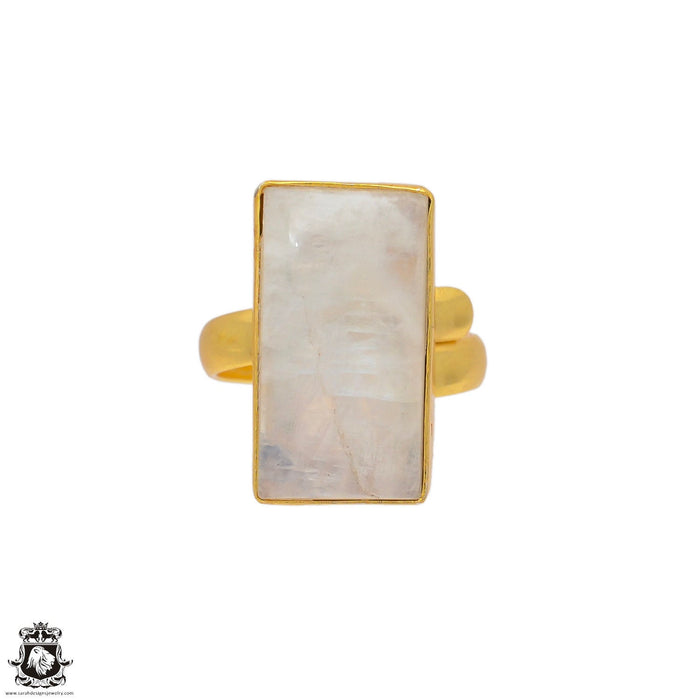 Size 6.5 - Size 8 Adjustable Moonstone 24K Gold Plated Ring GPR70