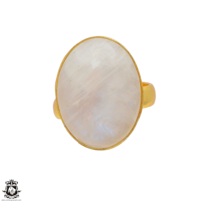 Size 6.5 - Size 8 Adjustable Moonstone 24K Gold Plated Ring GPR76