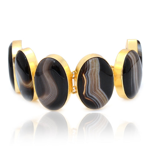 Banded Agate Gold Plated Bracelet GB19