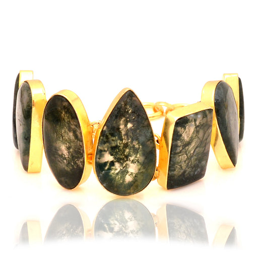 Moss Agate Gold Plated Bracelet GB33