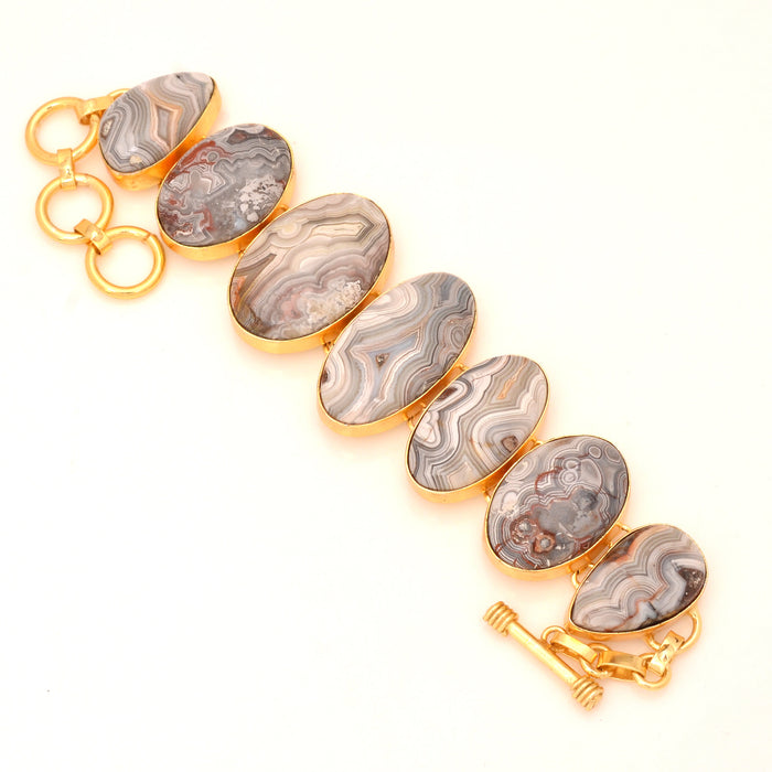 Crazy lace Agate Gold Plated Bracelet GB55