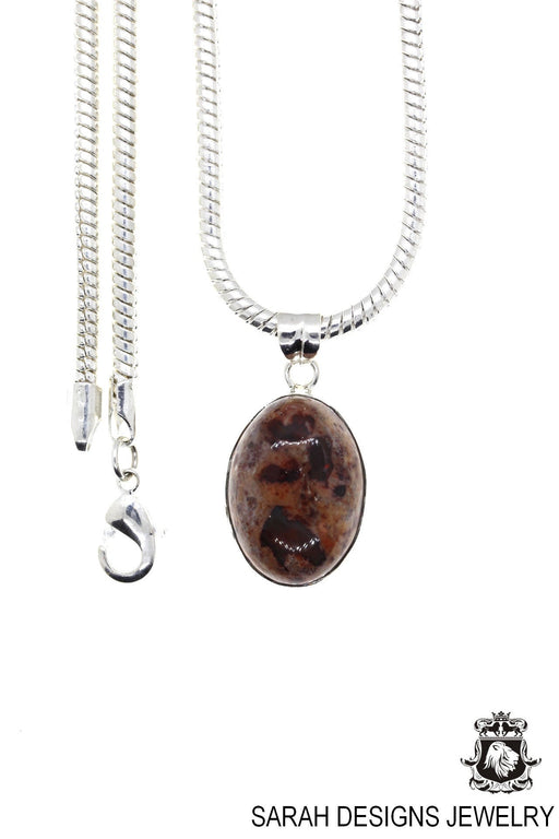 Fire Opal 925 Sterling Silver Pendant 4mm Snake Chain O1