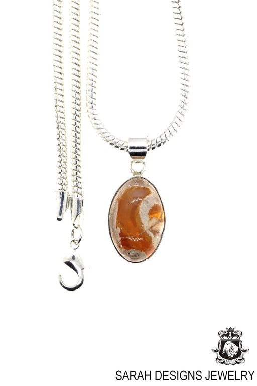 Fire Opal 925 Sterling Silver Pendant 4mm Snake Chain O11