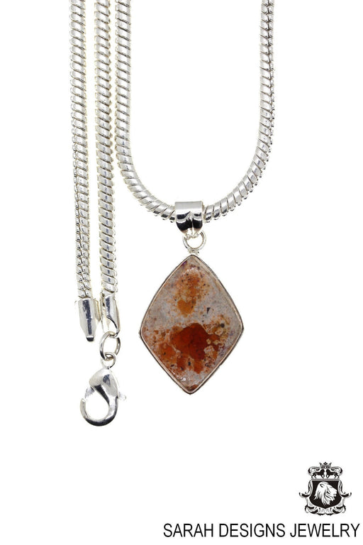 Fire Opal 925 Sterling Silver Pendant 4mm Snake Chain O13