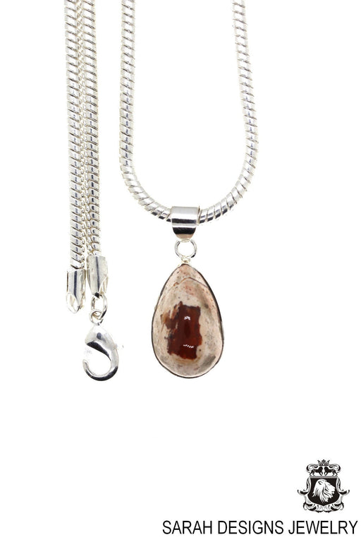 Fire Opal 925 Sterling Silver Pendant 4mm Snake Chain O20