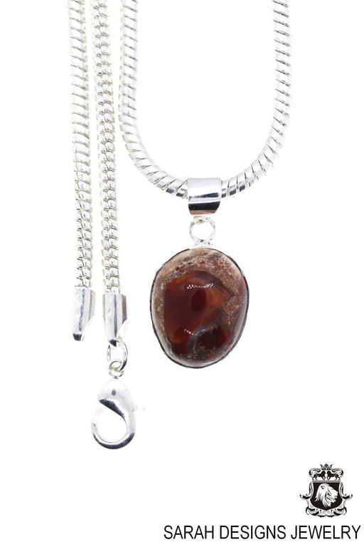 Fire Opal 925 Sterling Silver Pendant 4mm Snake Chain O25