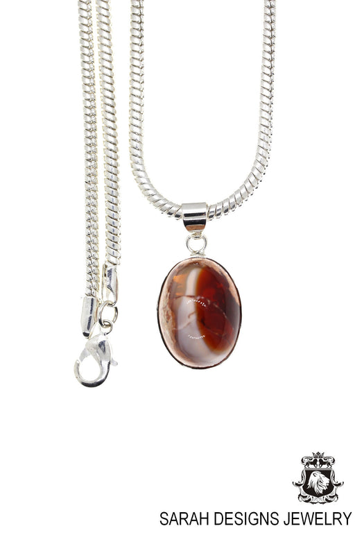Fire Opal 925 Sterling Silver Pendant 4mm Snake Chain O28
