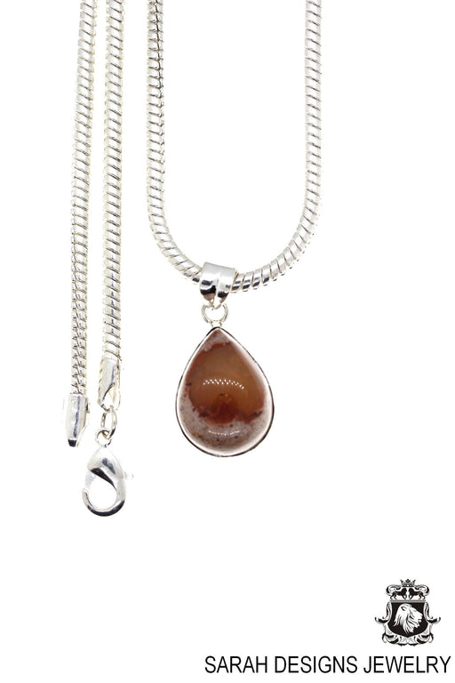 Fire Opal 925 Sterling Silver Pendant 4mm Snake Chain O40