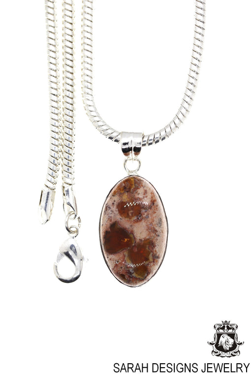 Fire Opal 925 Sterling Silver Pendant 4mm Snake Chain O44