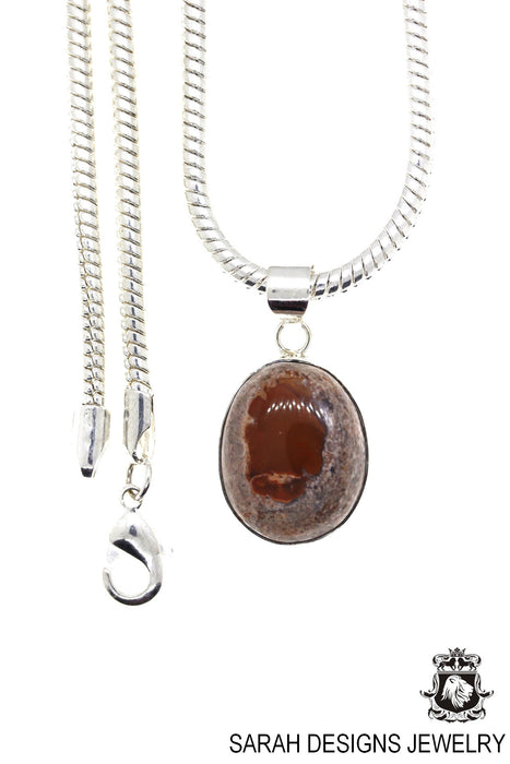 Fire Opal 925 Sterling Silver Pendant 4mm Snake Chain O66