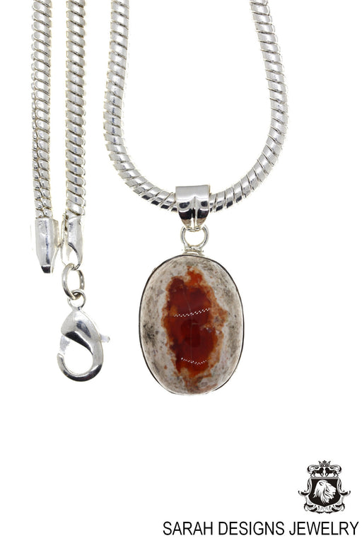 Fire Opal 925 Sterling Silver Pendant 4mm Snake Chain O77