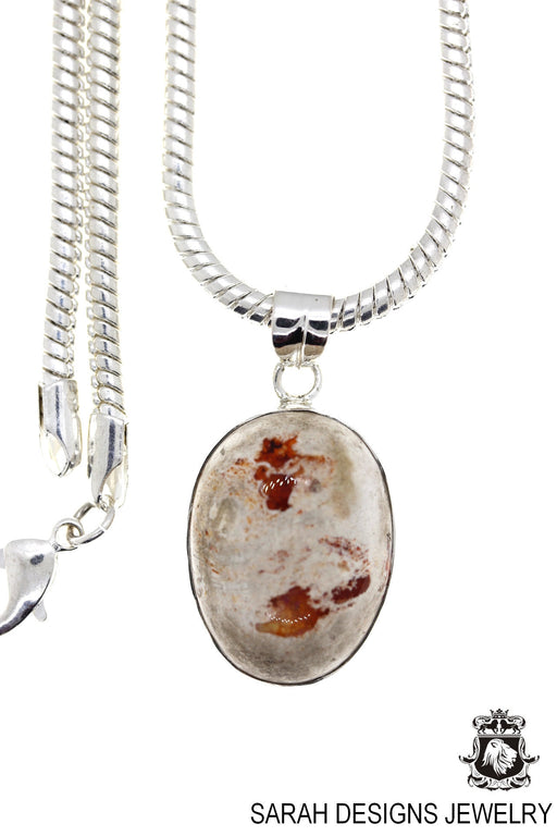 Fire Opal 925 Sterling Silver Pendant 4mm Snake Chain O85