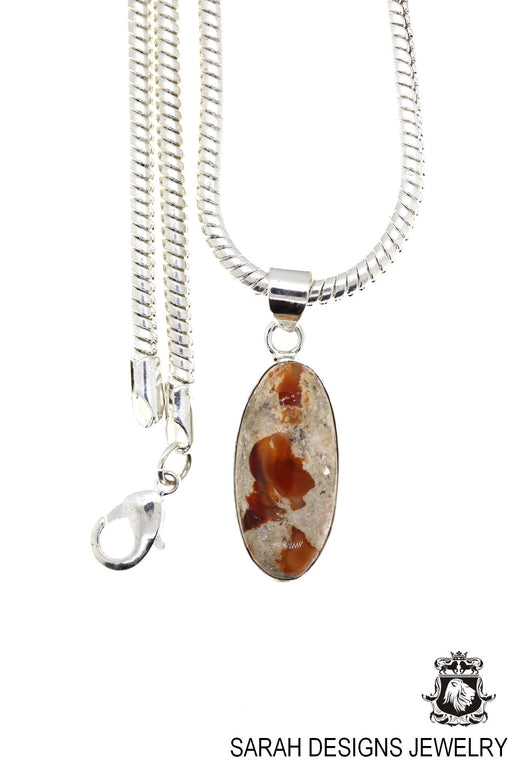 Fire Opal 925 Sterling Silver Pendant 4mm Snake Chain O86