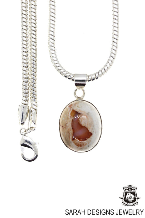 Fire Opal 925 Sterling Silver Pendant 4mm Snake Chain O87