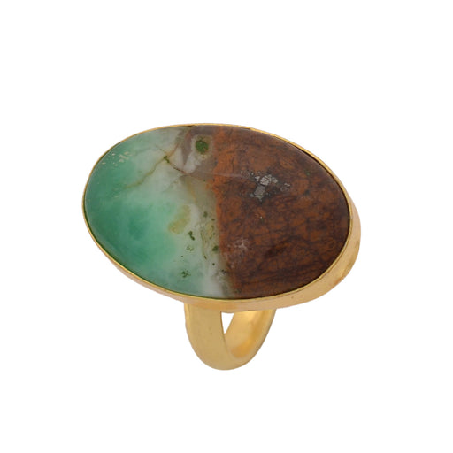 Size 9.5 - Size 11 Adjustable Boulder Chrysoprase 24K Gold Plated Ring GPR1127