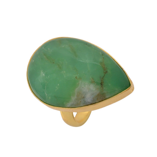 Size 6.5 - Size 8 Adjustable Boulder Chrysoprase 24K Gold Plated Ring GPR1140