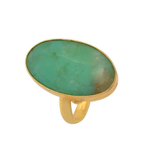Size 9.5 - Size 11 Adjustable Boulder Chrysoprase 24K Gold Plated Ring GPR1141