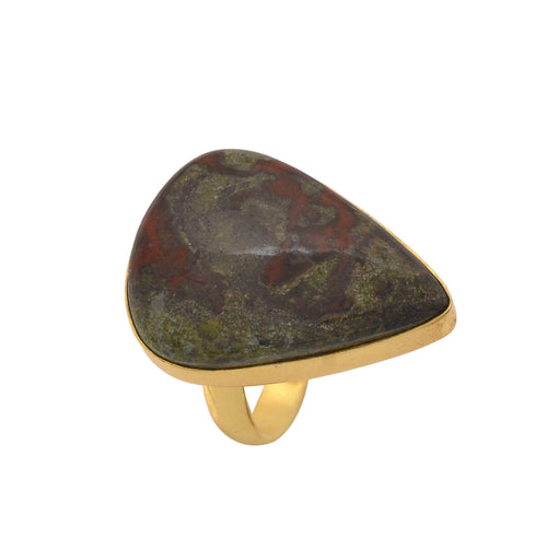 Size 9.5 - Size 11 Adjustable Dragon Blood Jasper 24K Gold Plated Ring GPR1150