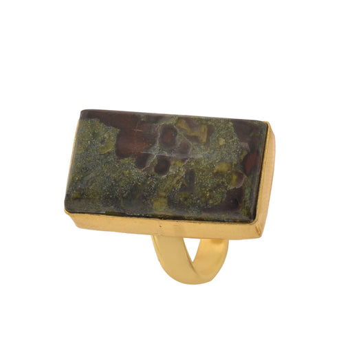 Size 6.5 - Size 8 Adjustable Dragon Blood Jasper 24K Gold Plated Ring GPR1151