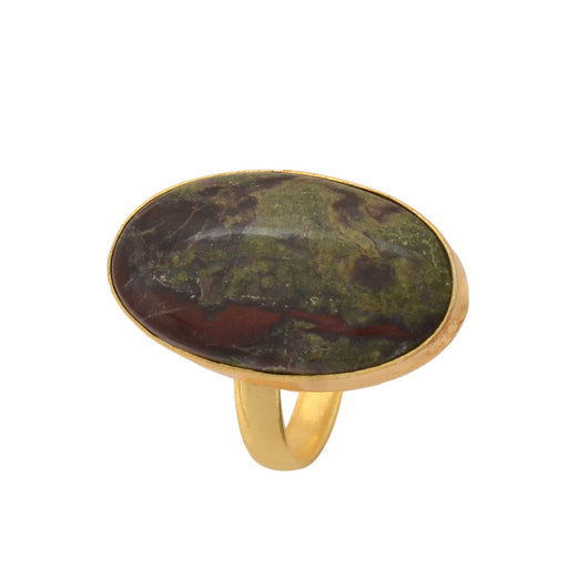 Size 9.5 - Size 11 Adjustable Dragon Blood Jasper 24K Gold Plated Ring GPR1154