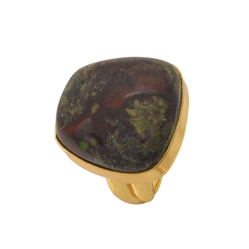 Size 6.5 - Size 8 Adjustable Dragon Blood Jasper 24K Gold Plated Ring GPR1156