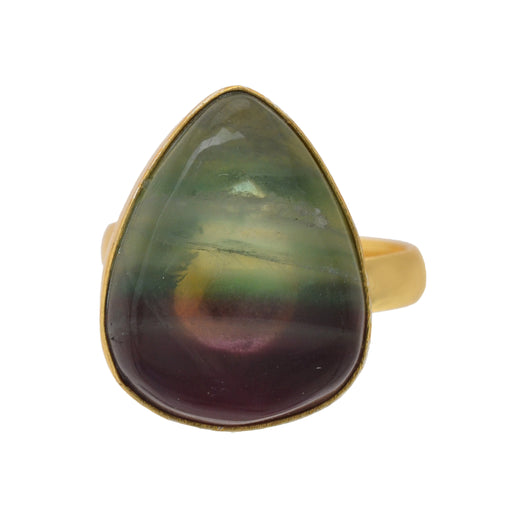 Size 9.5 - Size 11 Adjustable Fluorite 24K Gold Plated Ring GPR1165