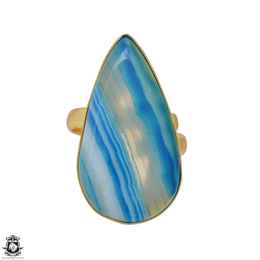 Size 9.5 - Size 11 Adjustable Blue Banded Agate 24K Gold Plated Ring GPR1172