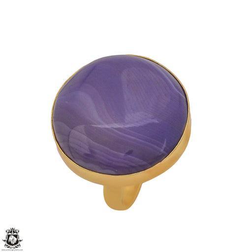 Size 9.5 - Size 11 Adjustable Purple Banded Agate 24K Gold Plated Ring GPR1180