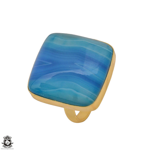 Size 10.5 - Size 12 Adjustable Blue Banded Agate 24K Gold Plated Ring GPR1182