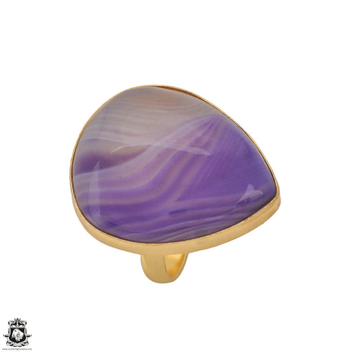 Size 9.5 - Size 11 Adjustable Purple Banded Agate 24K Gold Plated Ring GPR1185
