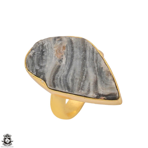 Size 6.5 - Size 8 Adjustable Desert Druzy 24K Gold Plated Ring GPR1188
