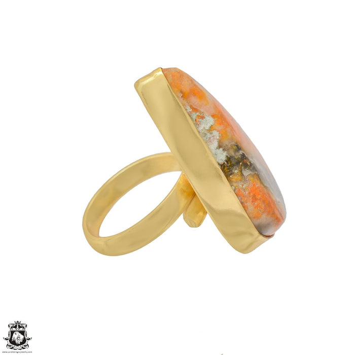 Size 6.5 - Size 8 Adjustable Bumblebee Jasper 24K Gold Plated Ring GPR1197