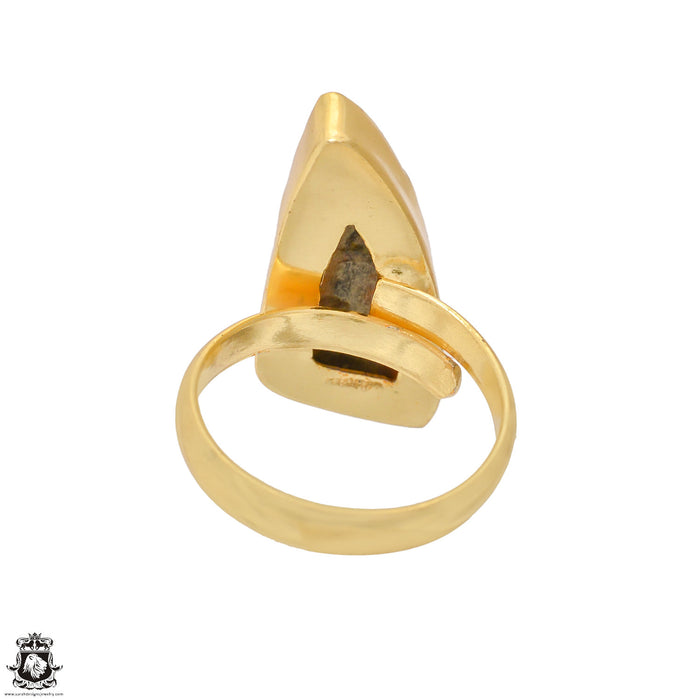 Size 8.5 - Size 10 Adjustable Bumblebee Jasper 24K Gold Plated Ring GPR1202