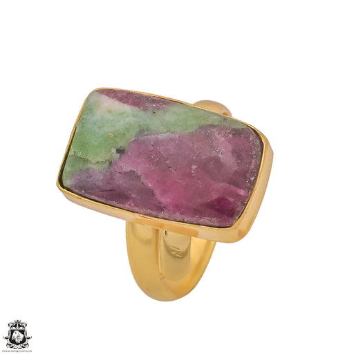 Size 10.5 - Size 12 Adjustable Ruby Zoisite 24K Gold Plated Ring GPR1207