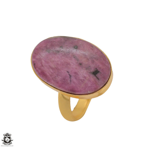 Size 10.5 - Size 12 Adjustable Ruby Zoisite 24K Gold Plated Ring GPR1212