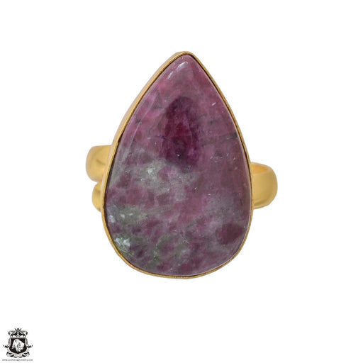 Size 9.5 - Size 11 Adjustable Ruby Zoisite 24K Gold Plated Ring GPR1213