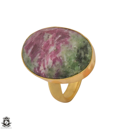 Size 8.5 - Size 10 Adjustable Ruby Zoisite 24K Gold Plated Ring GPR1220