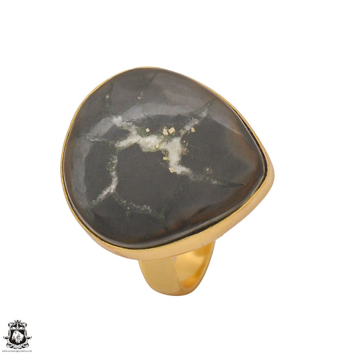 Size 8.5 - Size 10 Adjustable Septarian Nodule 24K Gold Plated Ring GPR1235
