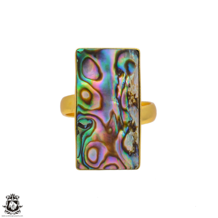 Size 9.5 - Size 11 Adjustable Abalone Shell 24K Gold Plated Ring GPR106