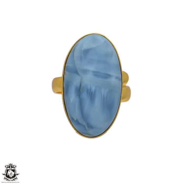 Size 8.5 - Size 10 Adjustable Owyhee Opal 24K Gold Plated Ring GPR124